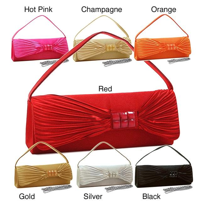 Dasein Satin Glitter Accent Clutch Handbag