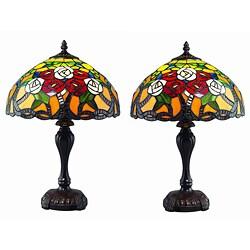 Tiffany Style RoseTree Lamp Set