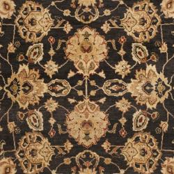 Pakistani Hand-knotted Peshawar Black/ Beige Wool Rug (9' x 12')