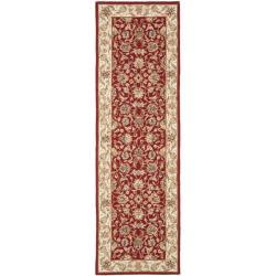 Safavieh Hand-hooked Tabriz Burgundy/ Ivory Wool Runner (2'6 x 10')