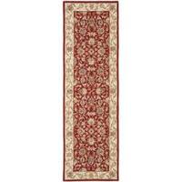 "Safavieh Hand-hooked Tabriz Burgundy/ Ivory Wool Runner Rug - 2'6"" x 10'"