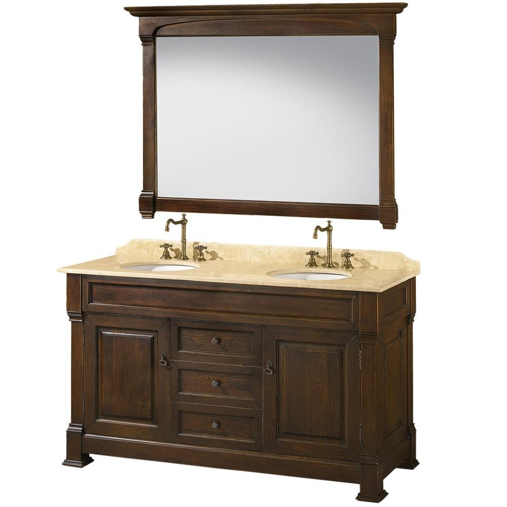Traditional 62 Inch Brown Double Sink Bathroom Vanity Free Shipping Today