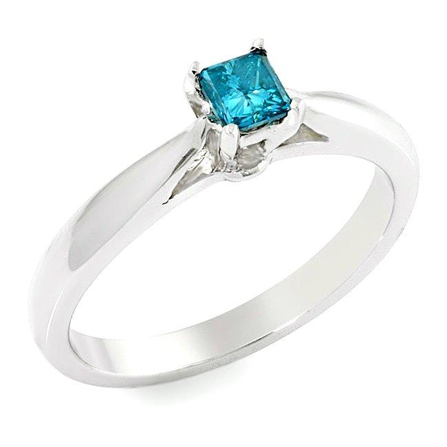 14k White Gold 2/5ct TDW Blue Diamond Solitaire Ring