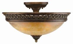 Yorktown 3-light Semi Flush Espresso Ceiling Light
