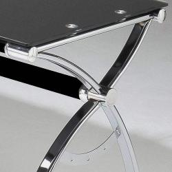 Smoked Tempered Glass L-shaped Computer Desk - Thumbnail 2