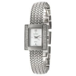Peugeot Women's Silvertone Crystal Mesh Bracelet Watch
