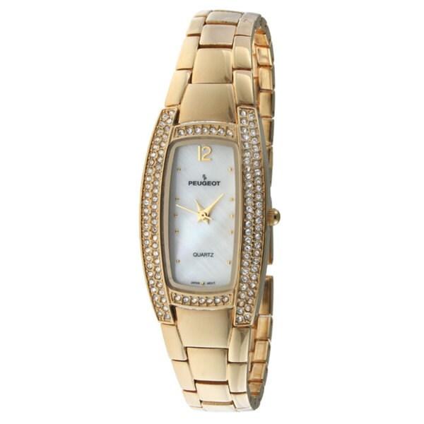 Peugeot Women's '7013G' Godltone  Crystal Watch