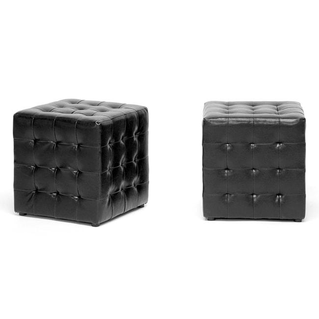 Siskal Black Modern Cube Ottoman Set Of 2 Free
