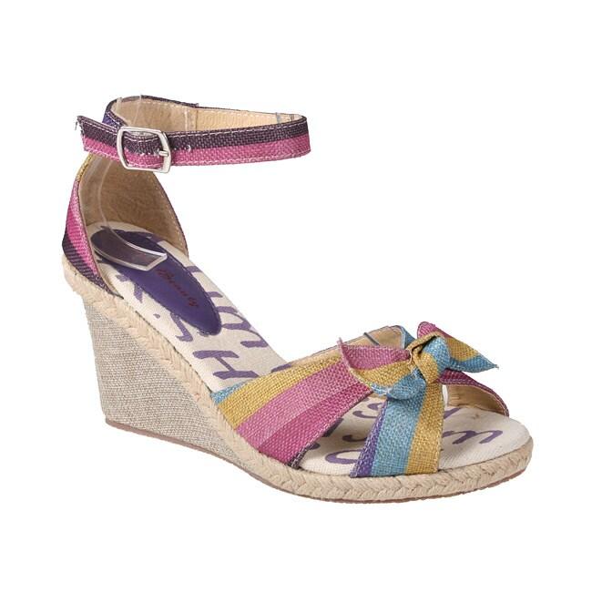 Refresh by Beston Women's 'Rosy' Purple Espadrille Wedge Sandals