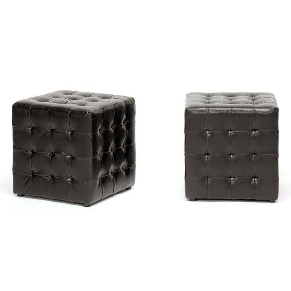 Baxton Studio Siskal Modern Dark Brown Faux Leather Cube Ottoman 2-piece Set