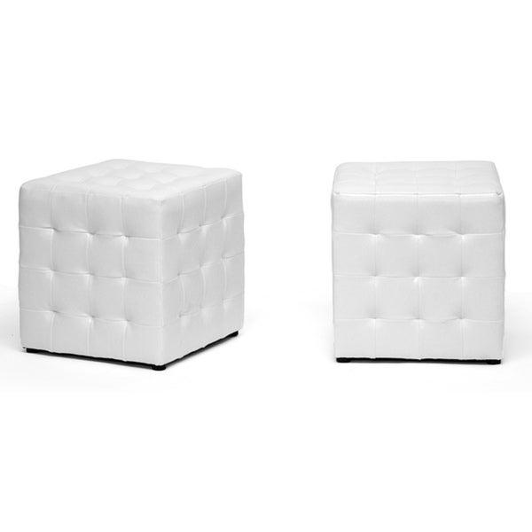 Baxton Studio Siskal White Modern Cube Ottoman (Set of 2)