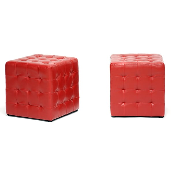 Siskal Red Modern Cube Ottoman (Set of 2)