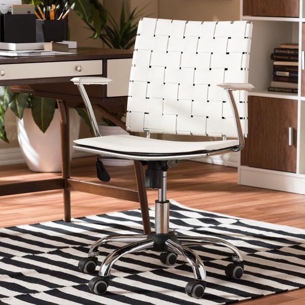 Baxton Studio Vittoria White Leather Modern Office Chair