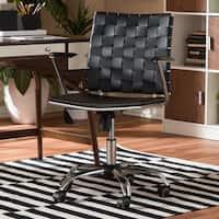 Baxton Studio Vittoria Black Leather Modern Office Chair
