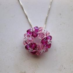 Sterling Silver Pink Crystal Round Flower Necklace (USA)