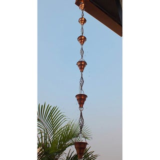 Monarch Pure Copper Tara Cup And Swirl Copper Rain Chain 8.5 Ft Inclusive of Installation Hanger