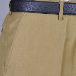 Men's Camel Flat Front Pants - Thumbnail 1