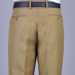 Men's Camel Flat Front Pants - Thumbnail 2
