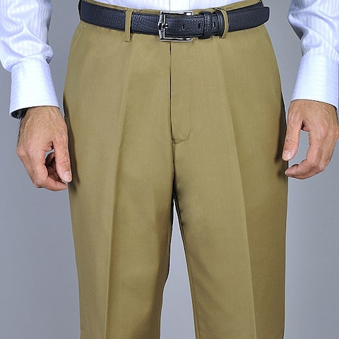 Men's Camel Flat Front Pants