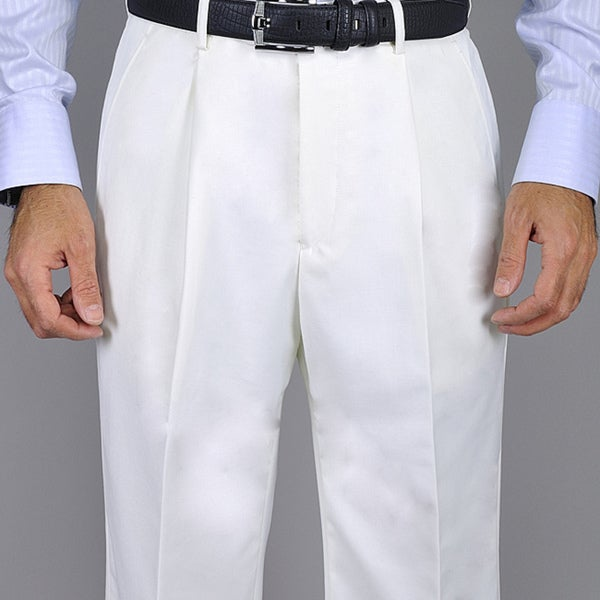 Mens White Single Pleat Pants by  New Design
