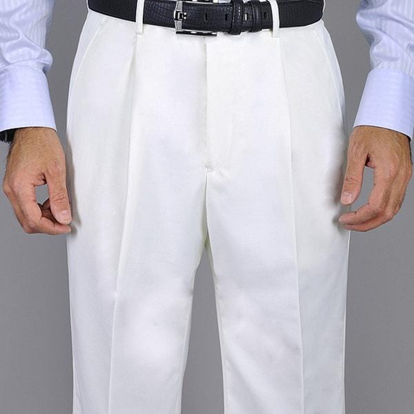 Mens White Single Pleat Pants