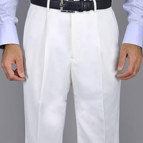 Men's White Single Pleat Pants