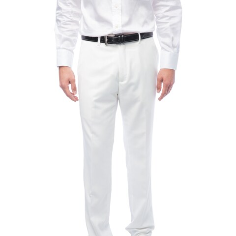 Men's White Flat Front Pants