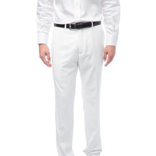 Men's White Flat Front Pants