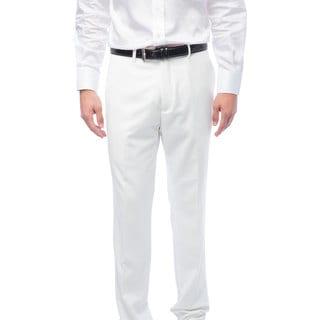 Men's White Flat Front Pants (Option: 32r)