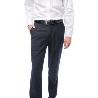 Men's Navy Blue Flat Front Pants (More options available)