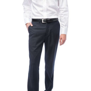 Men's Navy Blue Flat Front Pants