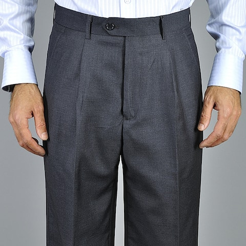 Men's Charcoal Single Pleat Pants