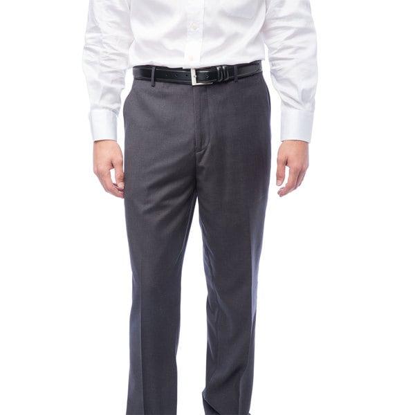 Mens Charcoal Flat Front Pants