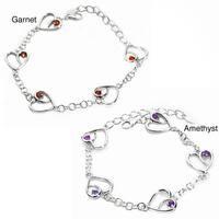 De Buman Sterling Silver Garnet and Amethyst Heart Link Bracelet