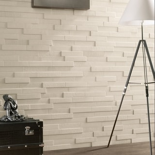 SomerTile 2x9.5-inch Aluna Traba Valge Porcelain Wall Tile (10 tiles/1.52 sqft.)