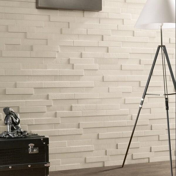 Somertile 2x9.5-inch Aluna Multi-White Porcelain Wall Tile (Case of 10)