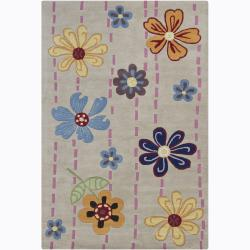Artist's Loom Hand-tufted Transitional Floral Wool Rug (3'6x5'6)