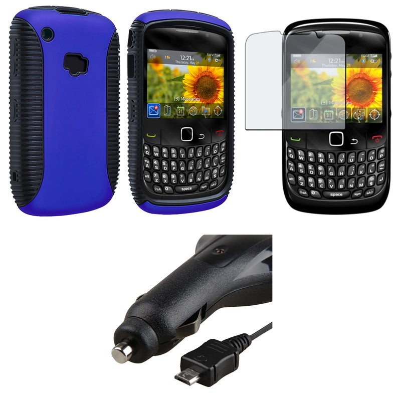 Hybrid Case/ LCD Protector/ Charger for Blackberry Curve 8520/ 8530