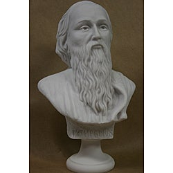 10.5-inch White Bonded Marble-cast High-detail Bust of Pythagoras - Thumbnail 0