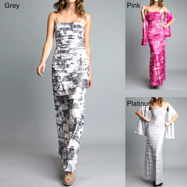Issue New York Women's Abstract Pleated Dress with Shawl