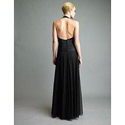 Issue New York Women's Black Pleated Bodice Halter Gown