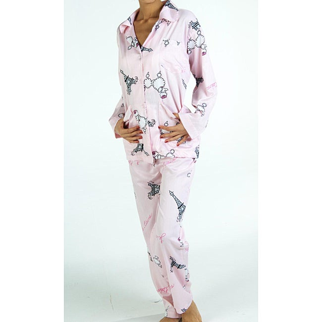 Aegean Apparel Women's Plus Size 'Fifi in Paris' Pajama Set