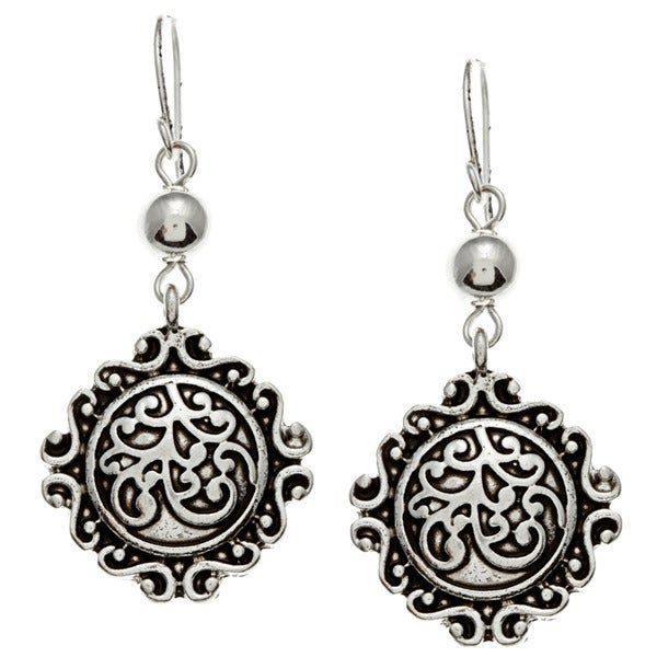 Roman Silvertone Antiqued Dangle Earrings