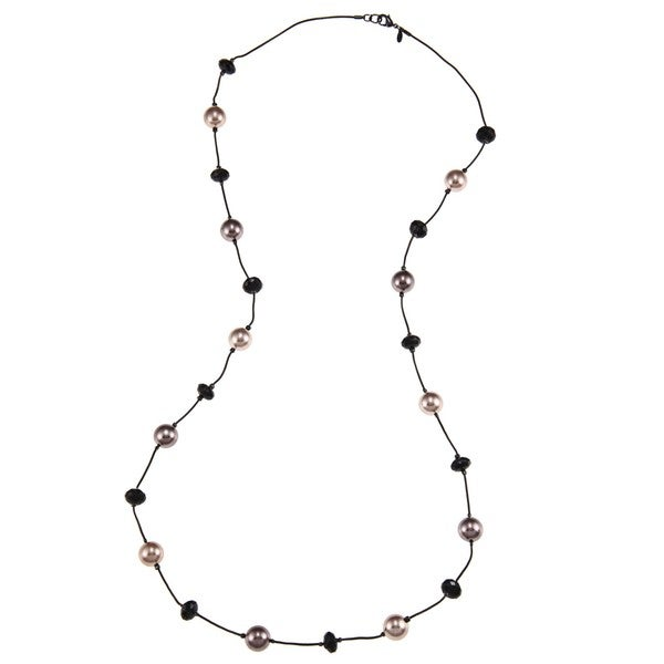Roman Metallic Rose Tonal Faux Pearl and Faceted Bead 36-inch Necklace