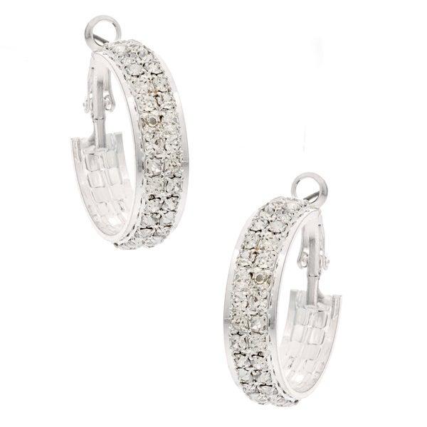 Roman Silvertone Clear Crystal Hoop Earrings
