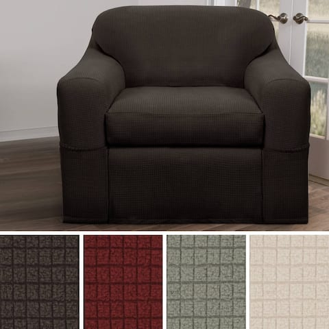 "Maytex Reeves Stretch 2 Piece Chair Furniture Cover Slipcover - 34"" high/38"" deep/32-43"" wide - 34"" high/38"" deep/32-43"" wide"
