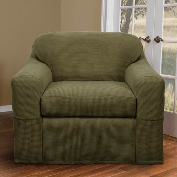 Maytex Reeves Stretch 2 Piece Chair Slipcover   Free Shipping Today    Overstock.com   14093399