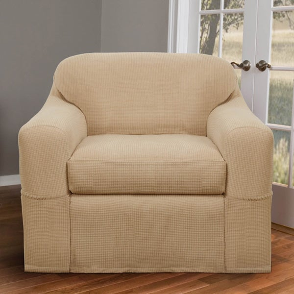 Awesome Maytex Reeves Stretch 2 Piece Chair Slipcover   Free Shipping Today    Overstock.com   14093399