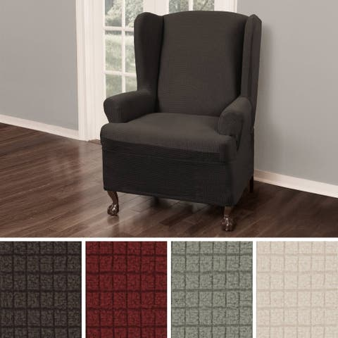 "Maytex Reeves Stretch Wing Chair Furniture Cover Slipcover - 25-31"" wide"