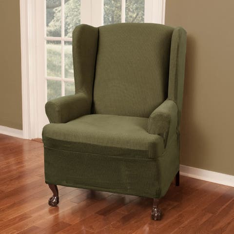 """Maytex Reeves Stretch Wing Chair Furniture Cover Slipcover - 25-31"""" wide"""